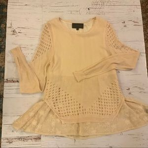 Sunday in Brooklyn knit lace embroidered sweater S